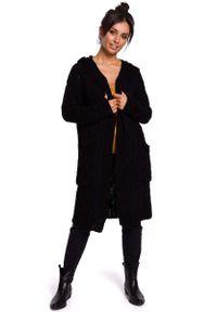 Czarny kardigan MOE długi, z kapturem