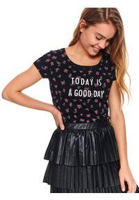 Czarny t-shirt TOP SECRET z krótkim rękawem, krótki, na co dzień, casualowy