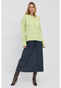 Beatrice B - Sweter wełniany. Okazja: na co dzień. Kolor: żółty. Materiał: wełna. Styl: casual