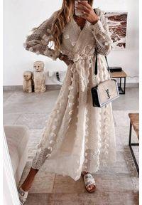 Beżowa długa sukienka IVET na lato