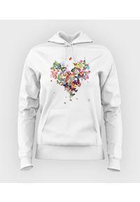 MegaKoszulki - Bluza damska z kapturem Butterfly Heart. Typ kołnierza: kaptur