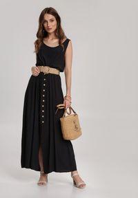 Renee - Czarna Sukienka Loraeshell. Kolor: czarny. Długość rękawa: na ramiączkach. Długość: maxi