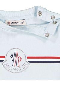 MONCLER KIDS - Jasnoniebieska koszulka z logo 0-3 lat. Kolor: niebieski. Materiał: bawełna. Wzór: paski, aplikacja. Sezon: lato. Styl: klasyczny, młodzieżowy #3