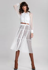 Renee - Biała Sukienka Faizah. Kolor: biały. Materiał: tkanina, jeans. Długość rękawa: długi rękaw. Styl: klasyczny. Długość: midi