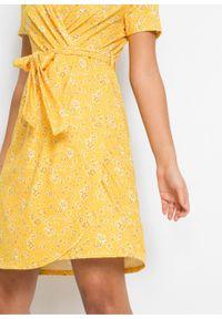 Sukienka kopertowa bonprix żółty cytrynowy w kwiaty. Kolor: żółty. Wzór: kwiaty. Typ sukienki: kopertowe