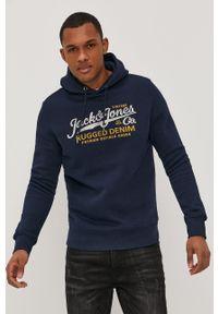 Niebieska bluza nierozpinana Premium by Jack&Jones na co dzień, z kapturem, casualowa