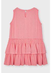 Różowa sukienka Mayoral rozkloszowana, gładkie