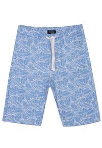 TOP SECRET - Szorty męskie dzianinowe we wzór. Kolor: niebieski. Materiał: dzianina. Wzór: nadruk. Sezon: jesień, lato, zima