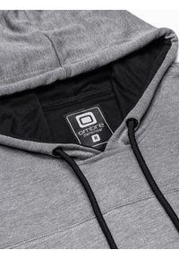 Ombre Clothing - Bluza męska z kapturem B1084 - szary melanż - XXL. Typ kołnierza: kaptur. Kolor: szary. Materiał: poliester, bawełna. Wzór: melanż