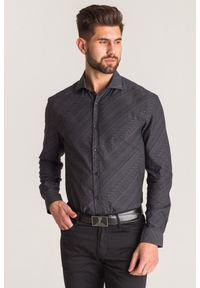 Szara koszula Versace Collection biznesowa, na lato, na spotkanie biznesowe