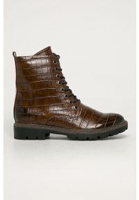 Marco Tozzi - Workery. Nosek buta: okrągły. Zapięcie: sznurówki. Kolor: brązowy