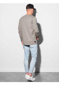 Ombre Clothing - Longsleeve męski z nadrukiem L130 - beżowy - XXL. Kolor: beżowy. Materiał: bawełna, tkanina. Długość rękawa: długi rękaw. Wzór: nadruk #5