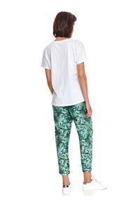DRYWASH - T-shirt damski z krótkim rękawkiem i nadrukiem. Kolor: biały. Materiał: tkanina, bawełna. Długość rękawa: krótki rękaw. Długość: krótkie. Wzór: nadruk. Sezon: lato. Styl: klasyczny, wakacyjny