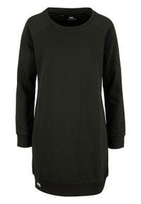 Sukienka dresowa z rękawami raglanowymi bonprix czarny. Kolor: czarny. Materiał: dresówka. Długość rękawa: raglanowy rękaw. Wzór: prążki