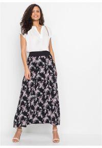 Spódnica maxi bonprix czarno-jasnoróżowy w kwiaty. Kolor: czarny. Materiał: bawełna, wiskoza, materiał. Długość: długie. Wzór: kwiaty