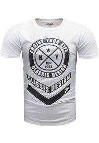 Biały t-shirt z nadrukiem Recea na co dzień, klasyczny, z krótkim rękawem