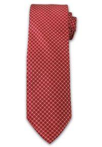 Wyrazisty Krawat Męski w Drobny Wzór, Kółka - Chattier, Łososiowo- Czerwony. Kolor: czerwony, różowy, wielokolorowy. Materiał: tkanina. Wzór: grochy. Styl: wizytowy, elegancki