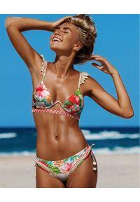 DEL MAAR - Dół od bikini Monona. Kolor: czerwony. Materiał: materiał. Wzór: kwiaty