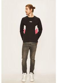 Czarna bluza nierozpinana Fila z nadrukiem, casualowa, na co dzień, bez kaptura