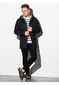 Czarny płaszcz Ombre Clothing na wiosnę, z kapturem