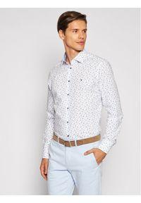 Tommy Hilfiger Tailored Koszula Leaf Print MW0MW18982 Biały Regular Fit. Kolor: biały. Wzór: nadruk