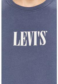 Niebieska bluza nierozpinana Levi's® z okrągłym kołnierzem, w kolorowe wzory, na spotkanie biznesowe