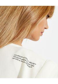 OFF-WHITE - Biała asymetryczna sukienka. Kolor: biały. Materiał: materiał. Typ sukienki: asymetryczne