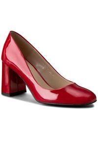 Czerwone półbuty sagan na średnim obcasie, na obcasie, z cholewką, eleganckie
