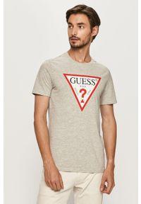 Szary t-shirt Guess Jeans z nadrukiem, z okrągłym kołnierzem, na co dzień