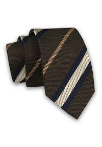 Alties - Brązowy Elegancki Męski Krawat -ALTIES- 6cm, Stylowy, Klasyczny, w Biało-Beżowo-Granatowe Paski. Kolor: niebieski, beżowy, brązowy, wielokolorowy. Materiał: tkanina. Wzór: paski, prążki. Styl: klasyczny, elegancki