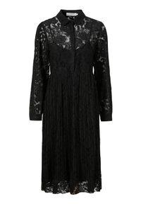 Cream Koronkowa sukienka Alicia Czarny female czarny 36. Typ kołnierza: kołnierzyk koszulowy. Kolor: czarny. Materiał: koronka. Wzór: koronka, ażurowy. Typ sukienki: koszulowe, plisowane. Styl: elegancki