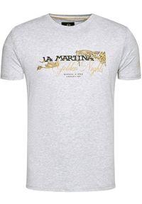 La Martina T-Shirt RMR303 JS206 Szary Regular Fit. Kolor: szary