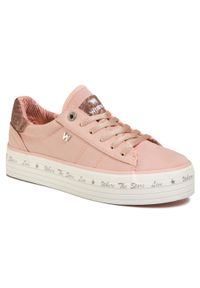 Różowe buty sportowe Wrangler z cholewką, na płaskiej podeszwie