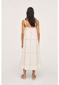 mango - Mango - Sukienka AMY. Kolor: beżowy. Materiał: tkanina. Długość rękawa: na ramiączkach. Wzór: gładki. Typ sukienki: rozkloszowane
