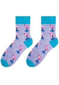 More - Szare skarpetki - flamingi SK149. Kolor: szary. Materiał: bawełna, poliamid, elastan