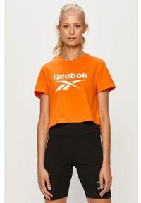 Pomarańczowa bluzka Reebok Classic z nadrukiem, z okrągłym kołnierzem, sportowa