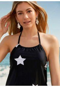 Czarny strój kąpielowy dwuczęściowy bonprix z nadrukiem