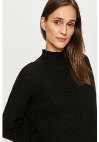 Czarny sweter Vila długi, casualowy, z długim rękawem, z okrągłym kołnierzem