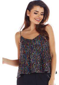Bluzka wizytowa Awama w kolorowe wzory, na ramiączkach
