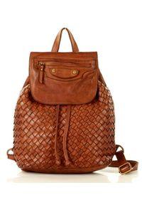 Marco Mazzini handmade - MARCO MAZZINI Brązowy Karmel Miejski Plecak Skórzany Genuine Leather Handmade Classic. Kolor: brązowy. Materiał: skóra