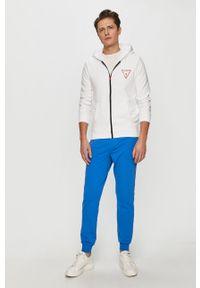Biała bluza rozpinana Guess casualowa, z aplikacjami, na co dzień
