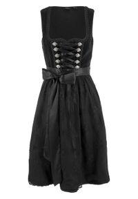 Sukienka ludowa z materiału w optyce aksamitu bonprix czarny. Kolor: czarny. Materiał: materiał, bawełna, poliester