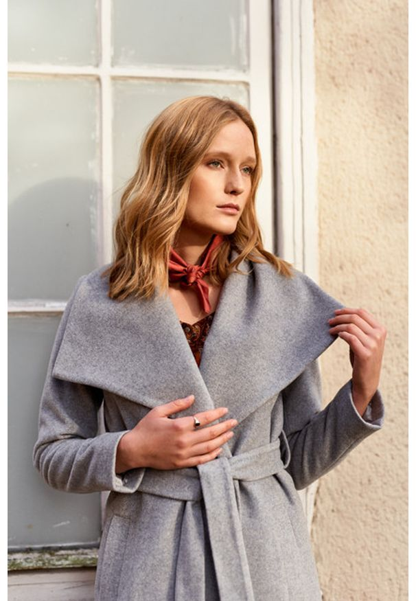 Marie Zélie - Płaszcz Adela szary – wełna Nova Fides. Kolor: szary. Materiał: wełna. Sezon: zima