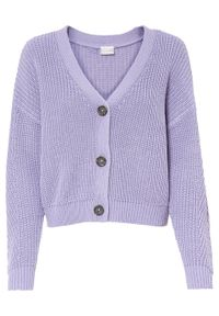 Sweter rozpinany bonprix dymny lila. Kolor: fioletowy