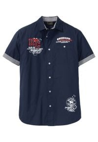 Koszula z krótkim rękawem i nadrukiem bonprix Koszula kr.ręk. c.ni. Kolor: niebieski. Długość rękawa: krótki rękaw. Długość: krótkie. Wzór: nadruk