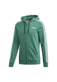 Zielona bluza z kapturem Adidas klasyczna, długa