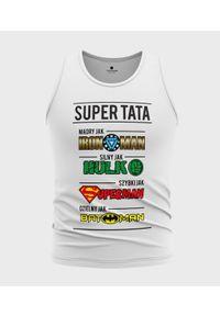MegaKoszulki - Koszulka męska bez rękawów Tata Superbohater. Materiał: bawełna. Długość rękawa: bez rękawów