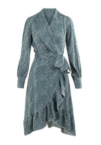 Born2be - Zielona Sukienka Neviusia. Kolor: zielony. Materiał: materiał. Wzór: aplikacja, nadruk. Typ sukienki: asymetryczne, kopertowe, dopasowane. Długość: mini