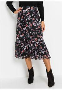 Spódnica midi z nadrukiem bonprix czarno-oberżyna w kwiaty. Kolor: czarny. Wzór: kwiaty, nadruk