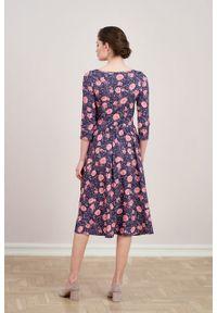 Marie Zélie - Sukienka Emelina Vigenna. Materiał: wiskoza, dzianina, materiał, elastan, tkanina, guma. Styl: klasyczny. Długość: midi